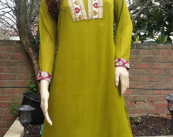 Indian pakistani kurta kurti anarkali kameez Wedding embroidered Party dress