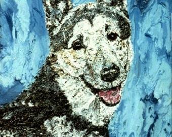 Pet portraits, ash paintings, pet ash art, cremated pet ash wall art, pet memorial art, memorialized pet art,  by Johno Prascak