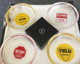 Federal glass set of 4 ashtrays coasters road signs RARE