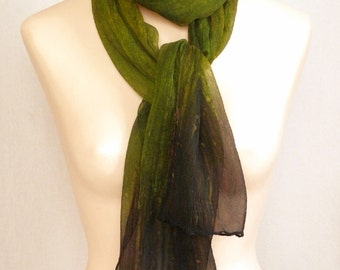 Ombre Crinkle Silk Chiffon Scarf - Hand Painted - Olive and Gold Blend
