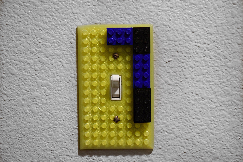 Brick Light Switch - Lego Light Switch Cover - Kids Room Decor - 3D ...