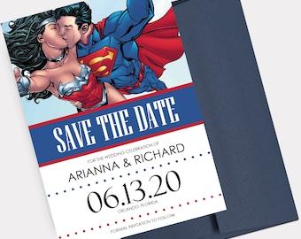 Superhero Save the Dates, Super Hero Theme Wedding, Marvel Wedding Announcement, Superman and Wonder Woman, Comic Book Save the Date