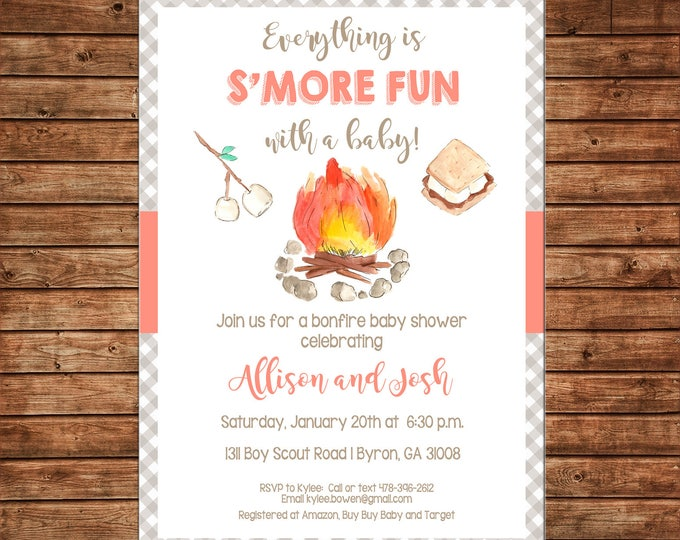 Smores Campfire Bonfire Baby Shower Invitation  - Can personalize colors /wording - Printable File or Printed Cards