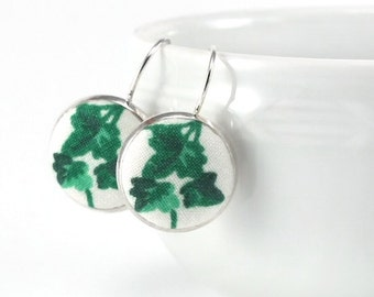 Green Ivy Earrings, Emerald Green Drop Earrings, Leaves on White Fabric Covered Buttons Jewelry, Silver Toned Leverback Earrings