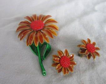 Retro 1960's Flower Child Enameled Metal Sunflower Brooch & Earring Set