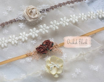 Set of 4 Gold & cream newborn headbands/tiebacks.  photo prop
