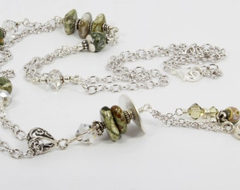 Silver Pendant Necklace with Rainforest Jasper, Delicate Chain Necklace, Swarovski Crystals, Natural Stones, Rhyolite Jewelry, Gift for Her