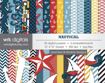 Nautical Seamless Digital Paper Pack, Digital Scrapbooking, Instant Download, Anchor, Boat, Ocean, Sea
