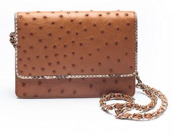 Chestnut Ostrich Handbag - LEX