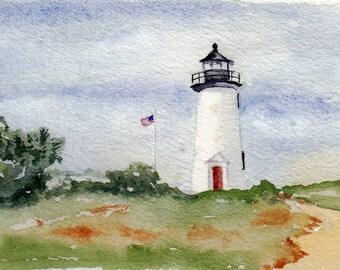 Poge Lighthouse-Martha's Vineyard, MA - Original Watercolor Painting