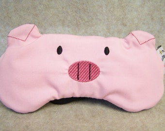 Embroidered Eye Mask for Sleeping, Cute Sleep Mask for Kids, Adults, Sleep Blindfold, Eye Shade, Travel, Slumber Mask, Pig Design, Handmade