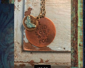 Valentines Avett Brothers I and Love and YouNecklace with Butterfly