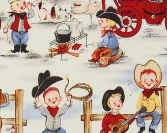 161322 funny Michael Miller vintage fabric cowboy boys