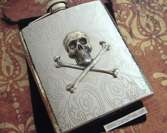 Silver Skull Flask Gothic Victorian Steampunk Accessories Large Size 8 oz Skull & Crossbones