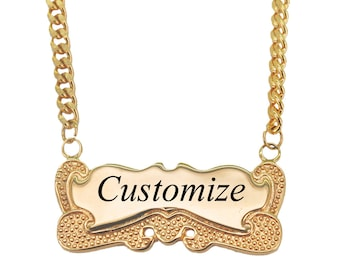 Personalized Gold Name Necklace 18K Gold Plated Customize Engraving Any Name Necklace for woman