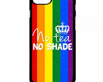 No tea no shade gay rainbow flag No T lgbtqi quote phrase lgbtq graphic  cover for Samsung Galaxy S5 S6 s7 s8 plus edge note 4 5 phone case