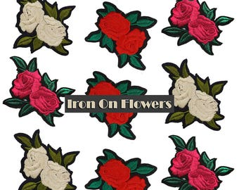 MIX Embroidered Iron On Flowers Roses Patches Appliques, Bulk Roses Patches Badges 9 pcs