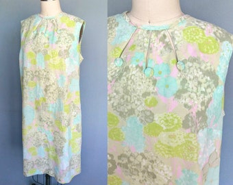 en plein air / 1960s watercolor floral print shift dress / 20 22 1X 2X