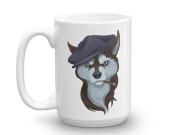Rugged Husky in Newsboy Cap - Mug