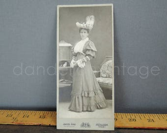 Antique Cabinet Photo Woman in Edwardian Dress & Hat, 3x6 inches, early 1900s, Vintage Black and White