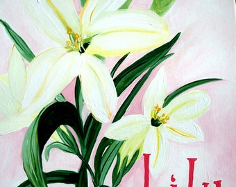 Lilies in pink,custom painted,personalized Art to match your child's room,nursery art,wall art,girls wall art,name art,baby naming,baby gift
