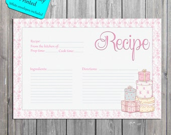 Bridal Recipe Cards, Wedding Recipe card, Chic Recipe cards PROFESSIONALLY PRINTED also available as an Instant Download