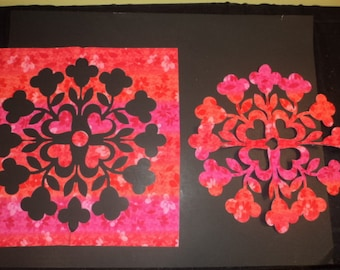 """Die Cut Applique Shape Hawaiian Quilt. Pink Geometric. Summer Bouquet by Stacy Michell. 2, 17.5"""" square Pos/ Neg. blocks. Fusible(Iron On)"""