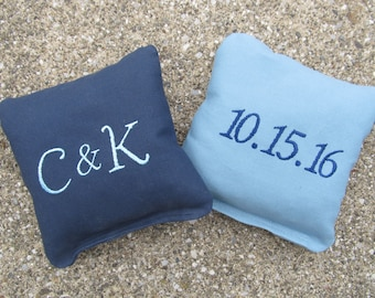 Personalized Wedding Cornhole Game Bags - Initials and Date - Set of 8 Shown in Navy Blue and Light Blue