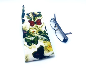 Butterfly Glasses Case, Floral Reading Glasses Case, Eyewear Case, Sunglasses Case, Case for Spectacles, Womens butterfly Glasses Pouch gift