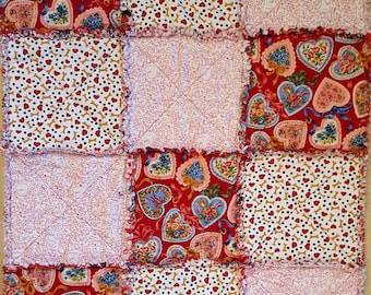Small Holiday Rag Quilt - Valentine's Day Theme