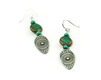 Turquoise shield earrings