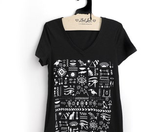 Fitted L - Black V-Neck Tee with Egyptian Screen Print