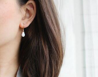 "milky white teardrop bead earrings // ""moonbeam"" earrings // gold, white, modern, drop, bead, jewelry, handmade"