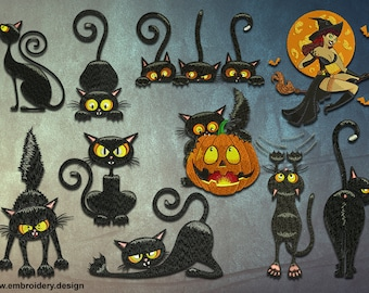 Halloween Cats embroidery designs pack #2 (collection of 10)
