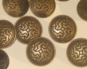 Fancy antiqued BRASS Metal Vintage New Deco Design buttons Set 9 : 24mm - 15/16""