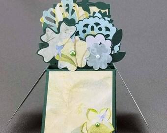 Handmade Flowers box card Green