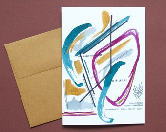 Shapes and colors, wishes, watercolor, paper card, abstract art