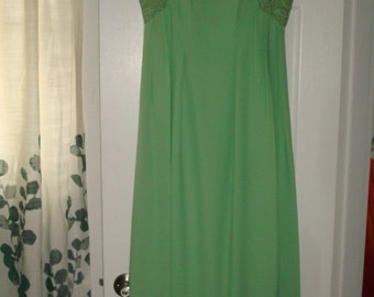 EMMA DOMB 1960's Party Dress Sz 10 Mint Green Maxi