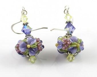 Purple Flower Earrings, Lampwork Glass Earrings, Raised Flower Earrings, Spring Flowers