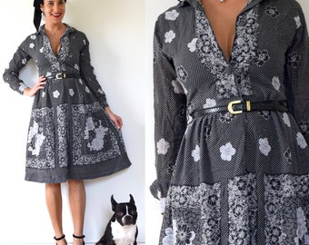Vintage 50s 60s Black and White Polka Dot Floral Cotton Voile Long Sleeved Shirt Waist Dress (size xs, small)