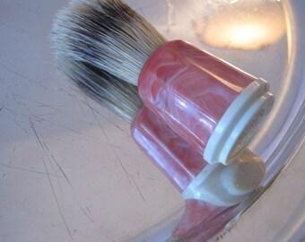 Pink Shaving Brush Bakelite Antique Salmon Marble marbleized Rubberset Wet Shaving Brush Old Fashioned Lather Brush Natural Bristles