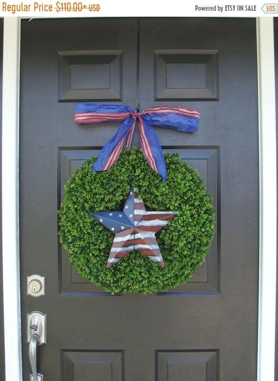SUMMER WREATH SALE Patriotic Wreath- July 4th Wreath- Fourth of July Decor- Patriotic Star- Memorial Day Wreath- July 4th Wreath