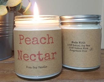 Peach Nectar Soy Candle, personalized candle, Summer Candle, Gifts for Her, Spa candle, relaxing candle, 8 oz soy candle gifts