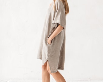 Linen dress, V neck linen dress, Minimal linen dress, Linen tunic, Minimal linen tunic, Stone washed, Linen clothes, Loose dress
