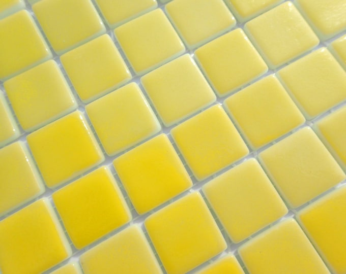 Yellow Glass Mosaic Tiles Squares - 1 inch - 25 Tiles for Craft Projects and Decorations - Creamy Lemon Yellow Recycled