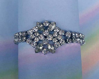 Vintage 40s Kramer Sterling Rhinestone Bracelet