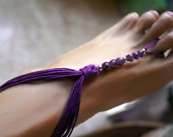 Violet Barefoot Sandals, Amethyst Barefoot Sandals, Gemstone Foot Jewelry, 1 Pair