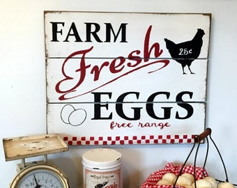 Extra Large Farm Fresh Eggs Free Range wood sign country farmhouse fixer upper