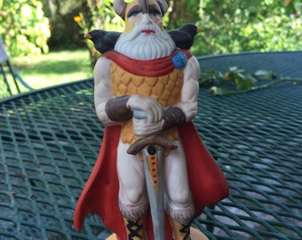 UCGC Rare Porcelain ODIN Viking Raven God figurine Raven King Norse Odin figurine Pagan alter tool Made in Taiwan