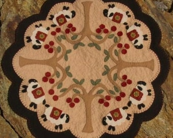 Under The Cherry Trees~sheep penny rug candle mat MAILED PAPER PATTERN